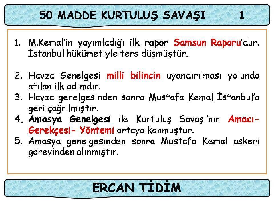 Kurtuluş Savaşı 50 Madde - Ercan TİDİM