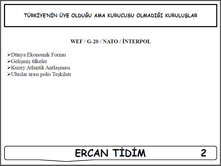 Uluslararası Kuruluşlar - Ercan TİDİM